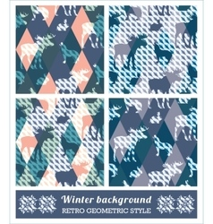Winter geometric seamless patterns vector