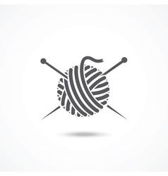 Yarn ball and needles icon vector