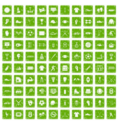 100 athlete icons set grunge green vector