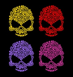 Skull flower petals floral colorful skull vector
