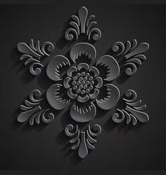 Traditional balinese ornament stone flower vector