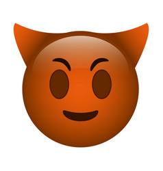 devil emoticon funny icon vector image