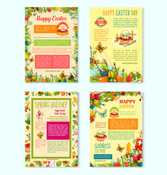 Easter day spring holidays poster template set vector