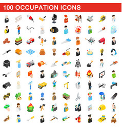 100 occupation icons set isometric 3d style vector image