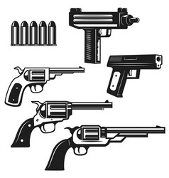 Set of handguns and revolvers isolated on white vector