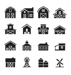 Barn farm building icon set vector