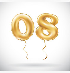 Golden number 0 8 zero eight balloon party vector