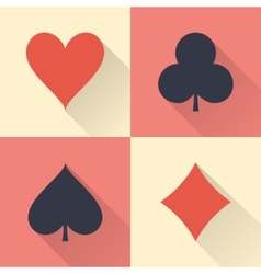 Playing cards suits with long shadows Flat design vector image