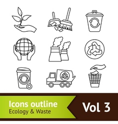 Ecology Icon Set Outline vector image
