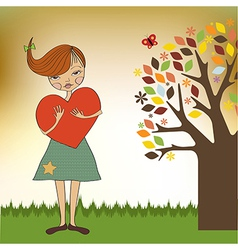 Romantic young girl with big heart vector