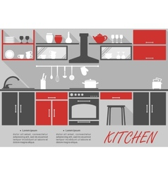 Kitchen interior decor infographic vector