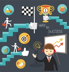 Business concept stairway to success presentation vector
