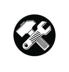 Detailed of hammer and wrench crossed work vector