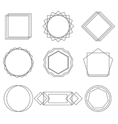 Mono line frames elegant design elements badges vector