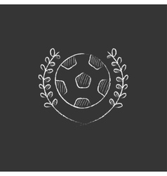 Soccer badge drawn in chalk icon vector