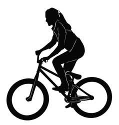 Girl riding a bicycle in black and white vector image