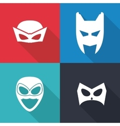 Icon set of superhero mask cartoon design vector