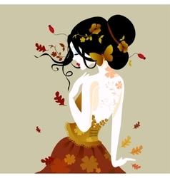a cute woman in autumn vector image
