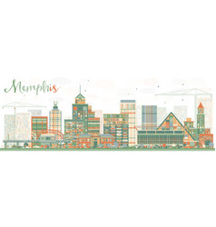 Abstract memphis skyline with color buildings vector