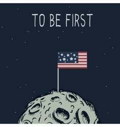 American flag standing on the moon vector