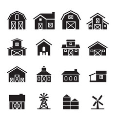 Barn farm building icon set vector