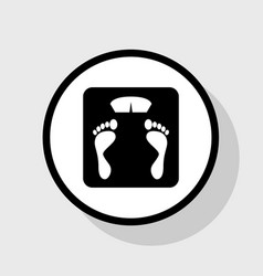 Bathroom scale sign flat black icon in vector