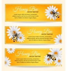 Bee banners set vector image