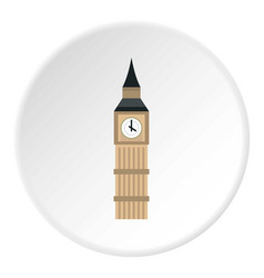 Big ben clock icon circle vector