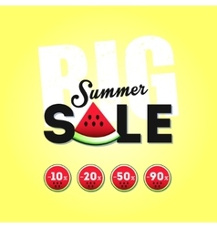 Big summer sale with a piece of watermelon vector image