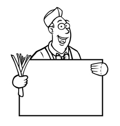 Black and white greengrocer holding a sign vector