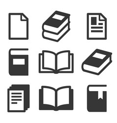 Book icons set on white background vector