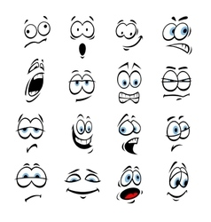 Cartoon eyes face expressions and emotions vector image