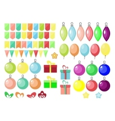 Christmas and New year set gift boxball balloon vector image vector image