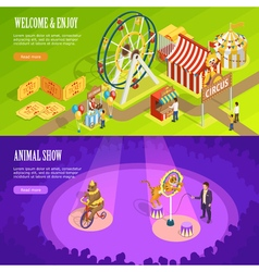 Circus isometric horizontal banners webpage design vector