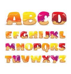 Coated wafers sweet alphabet letters set vector