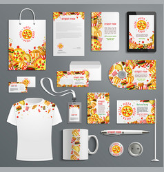 corporate identity items fast food vector image vector image