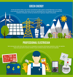 Electrician and clean energy flat banners vector