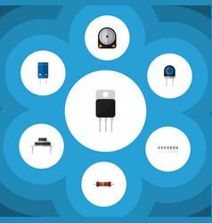 Flat icon electronics set of receiver destination vector