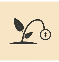 Flat in black and white plant coin vector