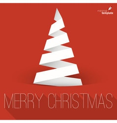 Folded paper Christmas tree mock up vector image vector image