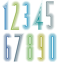 Geometric colorful tall decorative striped numbers vector