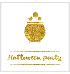 Halloween gold textured pot icon vector