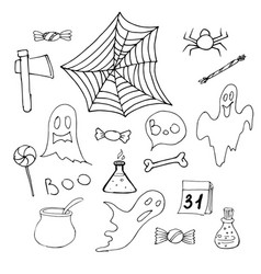 halloween set ot hand drawn elements halloween vector image