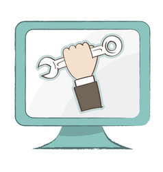 holding spanner icon on computer monitor - vector image