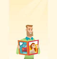 Man reading a magazine vector