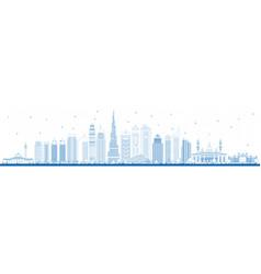 Outline dubai uae city skyline with blue buildings vector