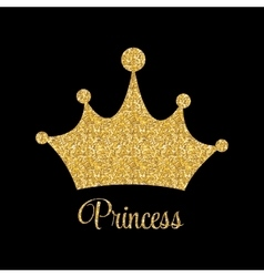 Princess golden glossy background with crown vector