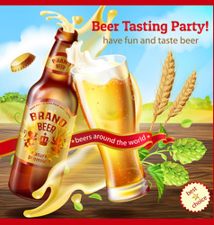 Promotion banner for beer tasting party vector