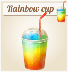 rainbow ice cup frozen drink cartoon icon vector image vector image