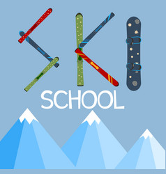 ski school logo emblems design elements winter vector image vector image